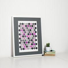 Modern Pink Hexagon Print by Sweet Oxen www.sweetoxen.co.uk