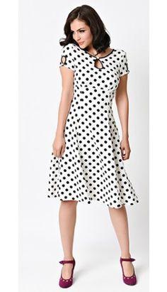 1940s Style White & Black Dotted Wonderwall Cap Sleeve Swing Dress