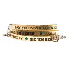 Baylor Bears Gold Leather Wrap Womens Bracelet | Baylor Bears Womens Bracelet http://www.rallyhouse.com/shop/baylor-bears-baylor-bears-triple-wrap-gold-leather-bracelet-with-crystals-2071047 $30.00