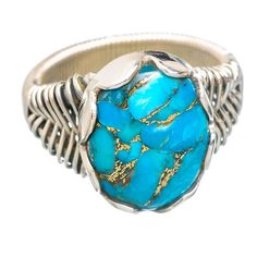Blue Copper Composite Turquoise 925 Sterling Silver Ring Size 8.5 RING761642