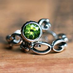 Peridot engagement ring set - bezel solitaire - recycled sterling silver - ethical engagement - cocktail filigree wedding band- Wrought ring...
