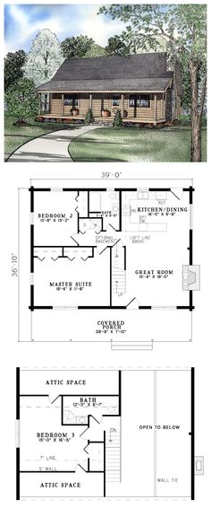 Country Farmhouse Log House Plan 61100