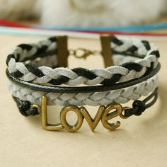 Bracelet -LOVE Bracelet .black and grey mixed combination bracelet gift for GF. $7.99, via Etsy.