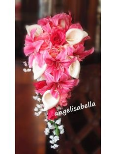 Calla lily, white, pink Wedding Bridal Cascade Wedding Bouquet & boutonniere