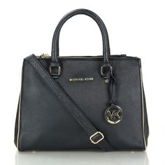 Cheap Michael Kors Sutton Saffiano Leather Large Black Satchels Clearance