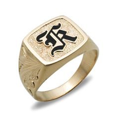 14k Gold Mens Ring With Raised Enamel Initial Please Contact Customer Service To Request An Hawaiian Wedding