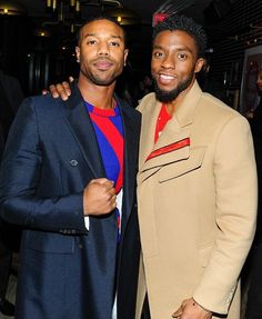 """Michael B. Jordan & Chadwick Boseman at """"Black Panther"""" New York premiere afterparty Why I love Black Men.😍😘😗😙😗😙😚 milk chocolate and caramel coco. The Avengers, My Black Is Beautiful, Beautiful Men, Michael Bakari Jordan, Black Panther Chadwick Boseman, Letitia Wright, Afro, Handsome Black Men, Black Man"""