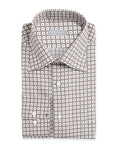 N2WLF Stefano Ricci Small-Floral-Check Dress Shirt, White