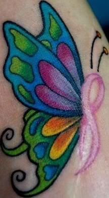 cancer ribbon butterfly- i love this idea! if i ever loose someone significant t i love ink & body art Band Tattoos, Tattoos Skull, Love Tattoos, New Tattoos, Body Art Tattoos, I Tattoo, Tattoo Fotos, Wrist Tattoo, Sister Tattoos
