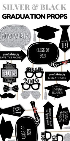 2019 Fun Graduation Photo Booth Props #graduationparty #gradpartyideas #graduationpartyideas #gradparty #themeparty #partythemes #silver