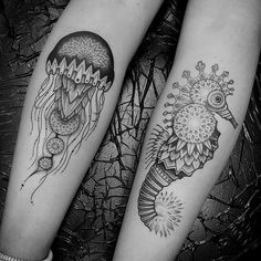 jellyfish and seahorse tattoo by Sinners for Saints | We Heart It