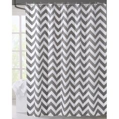 Geometric Fabric Shower Curtain, Grey Chevron Off White (72-by-72 Inches, 1) #lanmeng