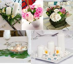 centerpeice Ideas...especially like the seashell one in this pic for our spring ladies retreat