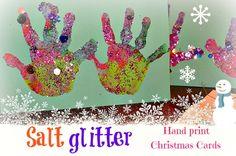 Salt Glitter Handprint Christmas Cards from Blog Me Mom