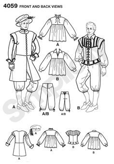 Mens Renaissance Costume Sewing Pattern 4059 Simplicity
