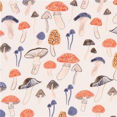 light cream cute orange blue mushroom fabric by Dear Stella USA 2