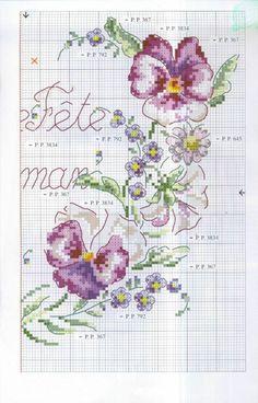 0 point de croix grille et couleurs de fils coeur fleurs bonne fete maman