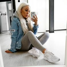 (50/50 & Cold) Girly Tomboy // Light Jean Jacket, Light Grey Hoodie, Light Grey Leggings, White Sneakers