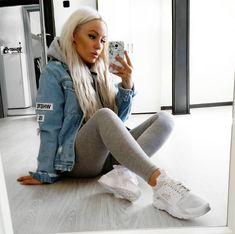 (50/50  Cold) Girly Tomboy // Light Jean Jacket, Light Grey Hoodie, Light Grey Leggings, White Sneakers WOMEN'S ATHLETIC & FASHION SNEAKERS http://amzn.to/2kR9jl3