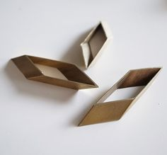 SALE 10 pieces of vintage old stock cut raw brass tube outline charm in long rhombus rectangular shape £6.50