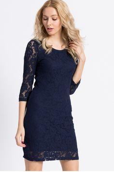 Elegancka mini sukienka koronkowa granatowa