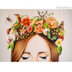 Flower and Animal Crown  Colour Pencil