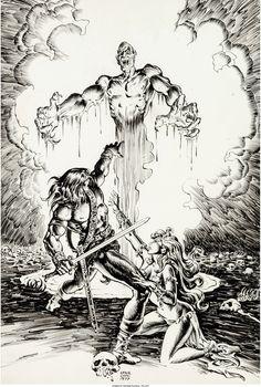 Ernie Chan Savage Sword of Conan #22 Pin-Up Illustration Original - W.B.