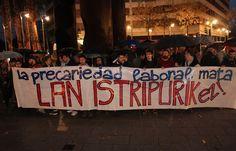 Un centenar de personas protesta por la muerte de un trabajador barakaldés en accidente laboral