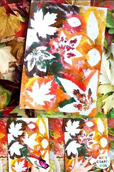Autumn Leaf Painting  <br> Autumn Leaf Painting - A simple art process encouraging children to explore negative space and natural shapes, colours and textures. Halloween Crafts For Toddlers, Autumn Activities For Kids, Autumn Leaves Craft, Autumn Art, Autumn Painting, Painting Art, Easy Fall Crafts, Fall Crafts For Kids, Kids Diy