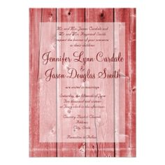 Shop Rustic Country Red Barn Wood Wedding Invitations created by CustomWeddingSets. Personalize it with photos & text or purchase as is! Discount Wedding Invitations, Personalised Wedding Invitations, Custom Invitations, Country Wedding Cakes, Wedding Cake Rustic, Rustic Barn, Barn Wood, Wedding Dress Preservation, Inexpensive Wedding Venues