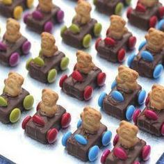 Teddy Bear Race Cars 1 packet of mini Mars Bars or Milky Way bars 1 family packet of mms 1 box of Tiny Teddy cookies