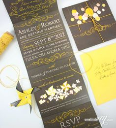 Beaumont - Wedding Invitation with DIY Pinwheels for Guests. $6.00, via Etsy....just incase my vender never gets around to making mine...