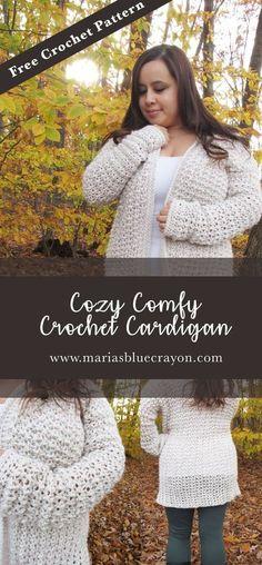 Oversized Comfy Crochet Cardigan | Free Crochet Pattern | Crochet Sweater Pattern | Maria's Blue Crayon
