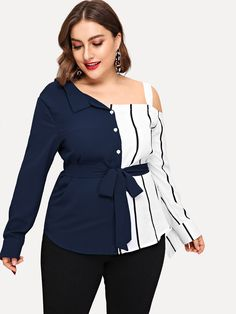 Plus Striped Open Shoulder Blouse Plus Size Women's Tops, Plus Size Shorts, Plus Size Blouses, Plus Size Dresses, Plus Size Outfits, India, Types Of Sleeves, Blouse Designs, Fashion News