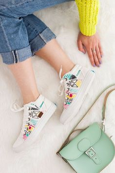 Free Embroidery Patterns - DIY Embroidered Sneakers - Best Embroidery Projects and Step by Step DIY Tutorials for Making Home Decor, Wall Art, Pillows and Creative Handmade Sewing Gifts - Machine Ideas and Hand Sewn Ideas for Beginners - Quotes, Modern Art, Flowers, Christmas Decor, Kitchen Towels and Easy Applique Designs http://diyjoy.com/free-embroidery-patterns