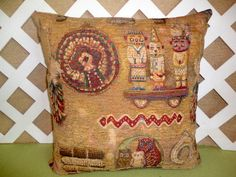 Southwestern Native American Pillow Cover in Golden Tan, Rust,Blue,Grn | JRsPillowsandBags - Housewares on ArtFire