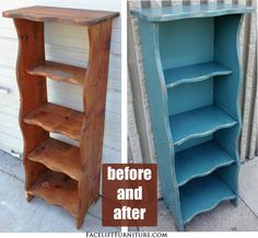 Distressed Sea Blue Bookshelf with Black Glaze ~ Before & After. From Facelift Furniture's DIY Blog.