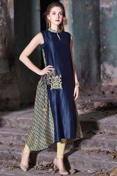 Samyakk Blue Silk printed Trail Cut Kurti Pakistani Dresses, Indian Dresses, Indian Outfits, India Fashion, Ethnic Fashion, Indian Attire, Indian Wear, Silk Kurti Designs, Dress Over Pants