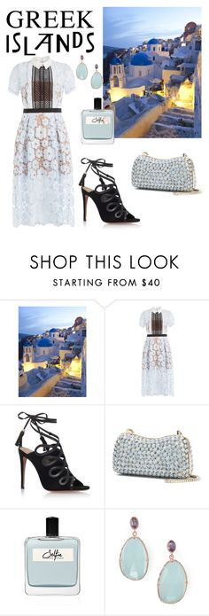 """Out for dinner on the island"" by chantel-meavers ❤ liked on Polyvore featuring self-portrait, Aquazzura, Elie Saab, Olfactive Studio, BillyTheTree, Packandgo and greekislands"