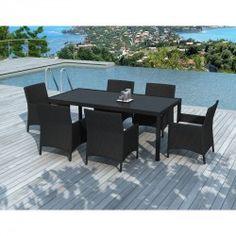 De fabrication solide et raffiné, la table à manger et 6 fauteuils de jardin PALMAS en résine tressée (noir, coussins blanc/écru) s'intègrera parfaitement dans votre espace détente.