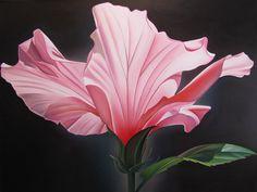 "Dyana Hesson ""Paradise, Pink Hibiscus, Puako, HI""  30"" x 40""  oil on canvas"