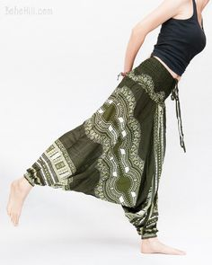 49cb6ff8f6629 African Tribe Design Harem Pants Low Crotch Baggy Yoga Trousers (Green)