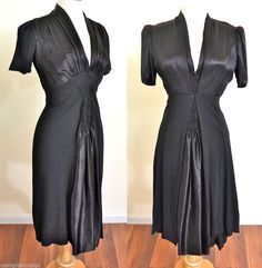 Vtg 40s BLACK SATIN Party Cocktail Swing Dress with Jacket Hollywood Film Noir  #Unknown