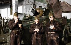 Hungarian Csaba armored car crew in two-piece leather uniforms, Transylvania, Second Vienna Award. Armored Vehicles, Armored Car, Ww2 Uniforms, Central And Eastern Europe, Ww2 Photos, Defence Force, World War Two, Wwii, Two By Two