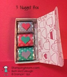 Stampin' Up! Valentine 3 Nugget Box designed by demo Beth McCullough.  See more card and gift ideas at  http://www.StampingMom.com #StampingMom