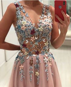 Gorgeous Appliques Tulle Evening Dress, Sexy V neck Long Prom Dress with Beading, Formal Gown, Shop plus-sized prom dresses for curvy figures and plus-size party dresses. Ball gowns for prom in plus sizes and short plus-sized prom dresses for Prom Dresses Long Pink, Grad Dresses, Ball Dresses, Pretty Dresses, Sexy Dresses, Beautiful Dresses, Ball Gowns, Floral Prom Dress Long, Unique Prom Dresses