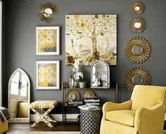 Home Decorating Style 2019 for Yellow Living Room Accessories, you can see Yellow Living Room Accessories and more pictures for Home Interior Designing 2019 at Best Home Living Room. Decoration Gris, Decoration Inspiration, Decor Ideas, Bedroom Inspiration, Color Inspiration, Interior Inspiration, Living Room Grey, Home And Living, Living Room Decor With Yellow Walls
