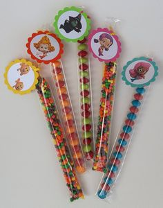 Bubble Guppies Birthday Candy Treat Bag Personalized Party Favor Set of 12 Thank You Tags Tubes Stix. $9.00, via Etsy.