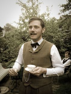 Ran into this well-dressed chap during a garden party. #mustache #pipe #smoking