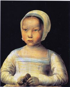 Het meisje met de dode vogel (Young Girl with a Dead Bird), c. 1500-1525. Unknown master from the School of South-Netherlands. Oil on panel, 37 x 30 cm.